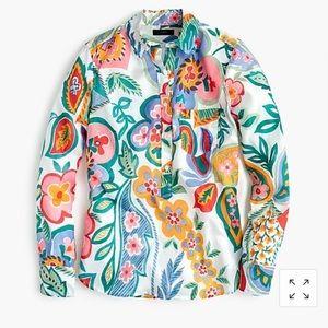 J. Crew Ratti Tropical Floral Popover Gauzy Shirt